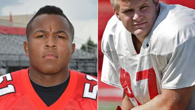 Center Grove defensive tackles Jovan Swann (left) and Cameron Tidd (right)