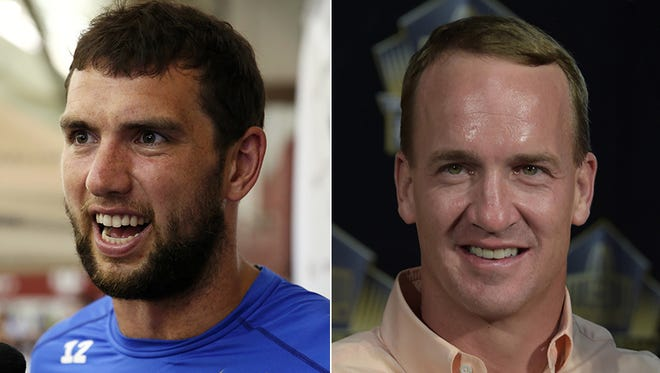 Colts quarterback Andrew Luck (left) and Broncos quarterback Peyton Manning