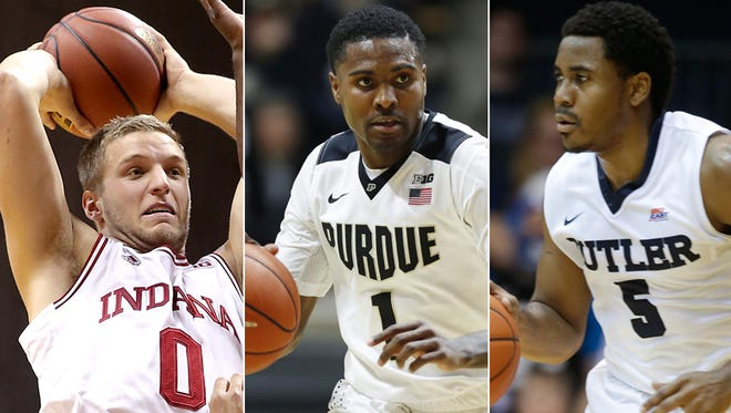 Indiana's Max Bielfeldt (left) previously played at Michigan; Purdue's Johnny Hill (middle) previously played at Texas-Arlington; Butler's Jordan Gathers previously played at St. Bonaventure.