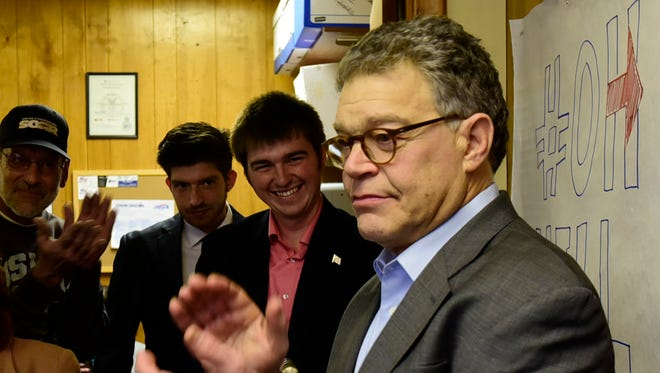 Sen. Al Franken from Minnesota campaigns for Hillary Clinton in Fremont on Thursday afternoon.