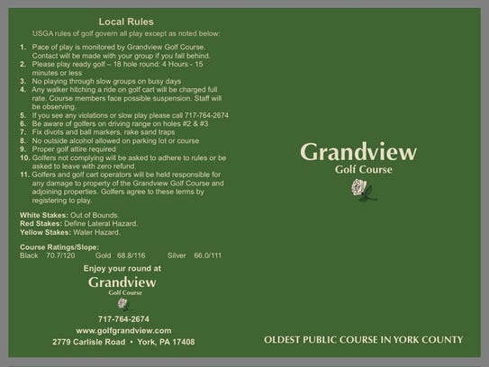 Grandview Golf Club's rules, as stated on their scorecard.