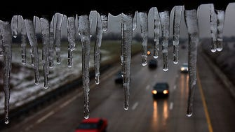 Freezing rain overnight left icicles hanging from a handrail over I-275 in Crestview Hills.
