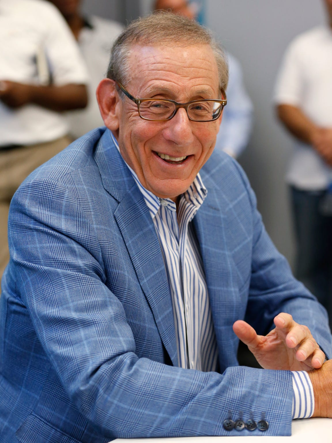 In this July 27, 2017, file photo, Miami Dolphins owner Stephen Ross, the University of Michigan's top individual alumni donor, speaks during a news conference at NFL football training camp in Davie, Fla.