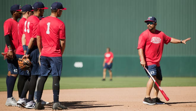The Fort Myers Miracle, led by new manager Ramon Borrego, right, will become the first professional baseball team to be the home team at all four of the Lee County-owned stadiums at noon today, May 23, at City of Palms Park.