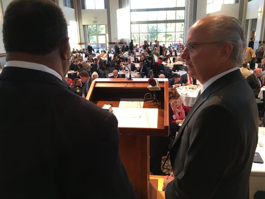 Montgomery County Commission Chairman Elton Dean, left,