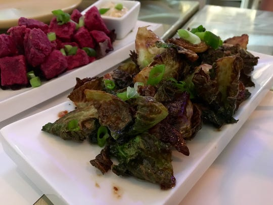 Miso-glazed Brussels sprouts and batter-less fried beets from BLANC.