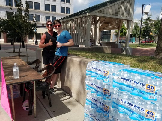 Calgaro's Pizzeria handed out 600 free bottles of water on Friday, July 21, 2017.