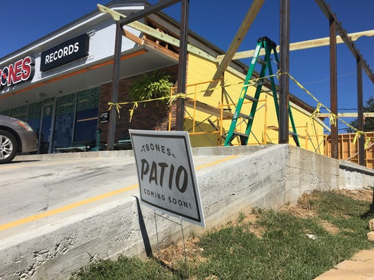 Construction is underway for a new patio at T-Bone's Records and Cafe on Hardy Street.