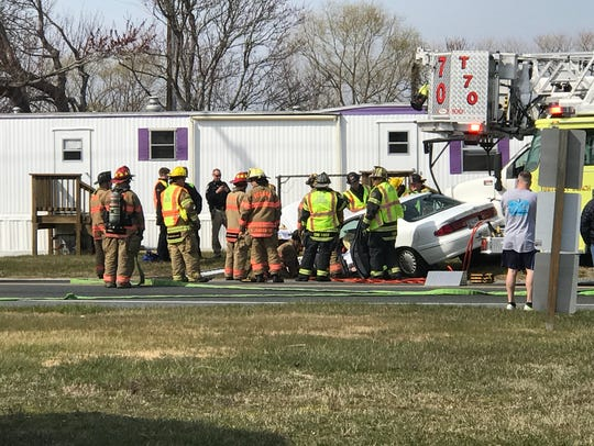 A vehicle collision on Route 54 sent a sedan into a