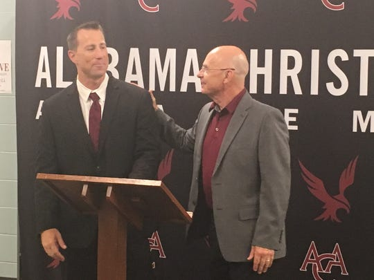 Alabama Christian athletic director Scott Galloway, right, introduced Nate Sanford as head football coach on Wednesday.