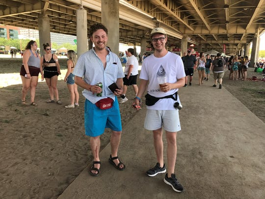 Dusty Fergurson, 24, and Wesley Huff, 24, show off their fanny packs. July 16, 2017