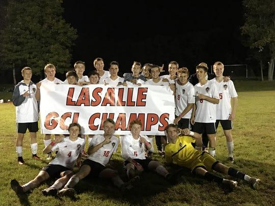 La Salle High School's soccer team celebrates its first