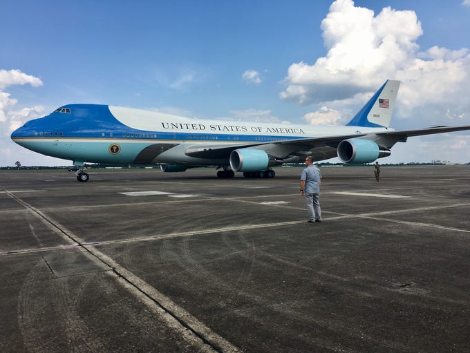 Air Force One arrives at the Chennault International