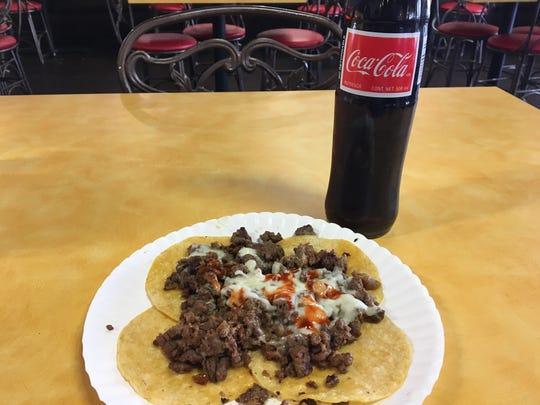 Carne asada tacos from Tacos Don Cuco, 5801 N. Mesa St.