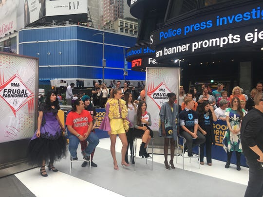 Marist College students Gabrielle Amaturo and Kate Norkeliunas showing their design on Good Morning America.