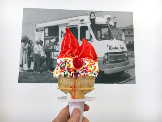 A Double Rainbow soft-serve ice cream is seen at Mister Softee of Southern California, which opened a bricks-and-mortar location in Old Town Camarillo in 2017. The business also operates two food trucks that make appearances at community events and private parties.