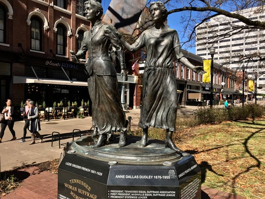The Tennessee Woman's Suffrage Memorial in Market Square.