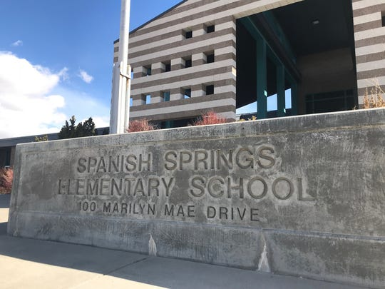 The entrance of Spanish Springs Elementary School on Thursday. March 8.
