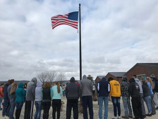 Students at Adena High School have a moment of silence