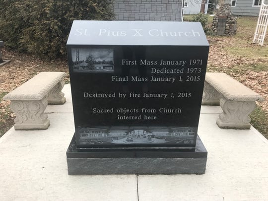 "In the St. Pius X graveyard is a stone for the church that says ""destroyed by fire"""