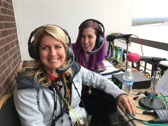 Vicki Rogers (left) and Laura Handy serve as official announcers for Thunder Over Louisville 2018. April 21, 2018