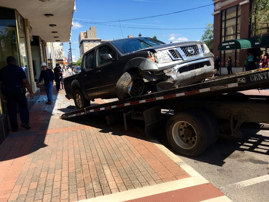 A truck involved in an accident on Third Street in
