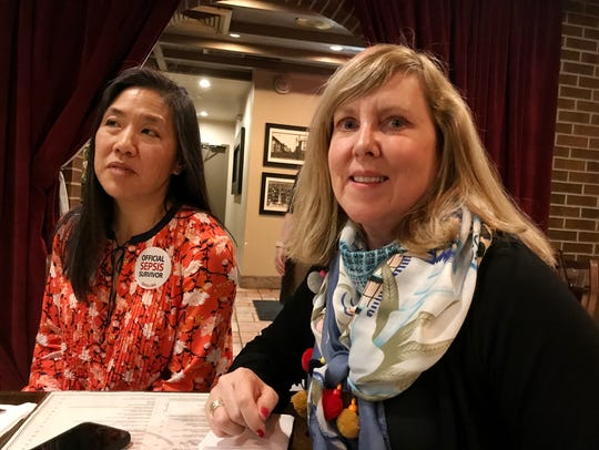 Lynn Smith, right, began working on sepsis awareness after her college roommate died from it in 2016. She's shown at an April fundraiser she held in Alexandria with sepsis survivor Audrey Tsai.