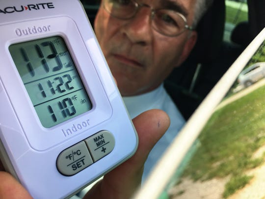 """Sandusky County Common Pleas Judge Robert Hart shows the temperature after about 10 minutes inside his vehicle during the second annual """"Beat the Heat"""" event."""