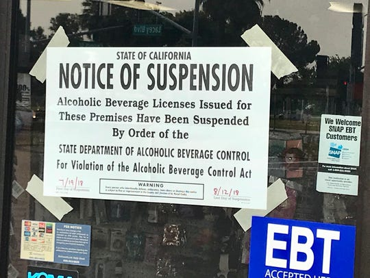 The Department of Alcoholic Beverage Control suspended