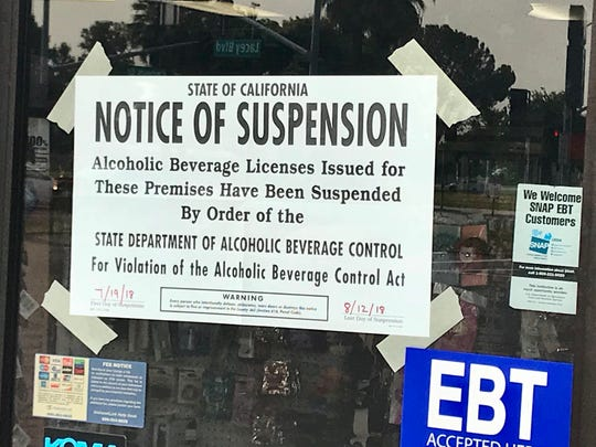 The Department of Alcoholic Beverage Control suspended the alcoholic beverage license of Hanford's King Gas & Deli Mart