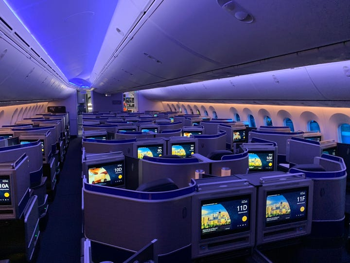 The Polaris business-class cabin is seen during a night-time