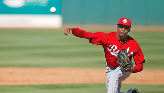 Reds pitcher Raisel Iglesias threw one scoreless inning, but was credited for the loss against the Cleveland Indians, Wednesday, March 4.