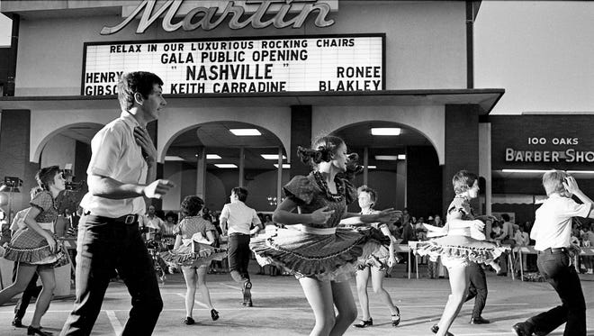 """The Rutherford County Square Dancers are adding to the festivity outside the Martin 100 Oaks Theater for the gala public opening of the movie """"Nashville"""" Aug. 8, 1975."""