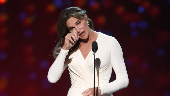 Caitlyn Jenner accepts the Arthur Ashe award for courage at the ESPY Awards at the Microsoft Theater.