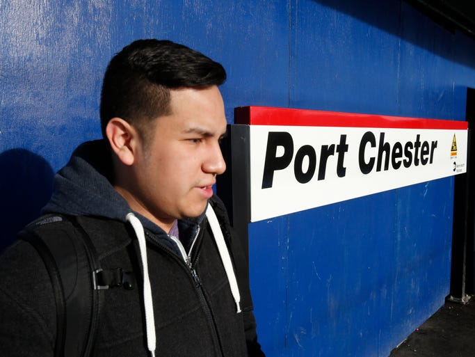 Kevin Ibarra of Mahopac, waits for the train at the Metro-North Port Chester train station on Feb. 20, 2014.