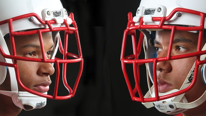 Twins Tayler and Tyler Hawkins are top football players at Palm Springs High School.