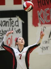 South Side's Ashlynn Clifft (7) serves versus Crockett