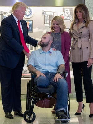 On a visit to Walter Reed National Military Medical Center, President Donald Trump and first lady Melania Trump on April 22, 2017, met Sergeant First Class Alvaro Barrientos with his wife, Tammy Barrientos, after awarding the Purple Heart to him. Barrientos was injured in Afghanistan. On Sept. 2, the USO in Cincinnati will honor health providers from Walter Reed who care for our nation's wounded soldiers.