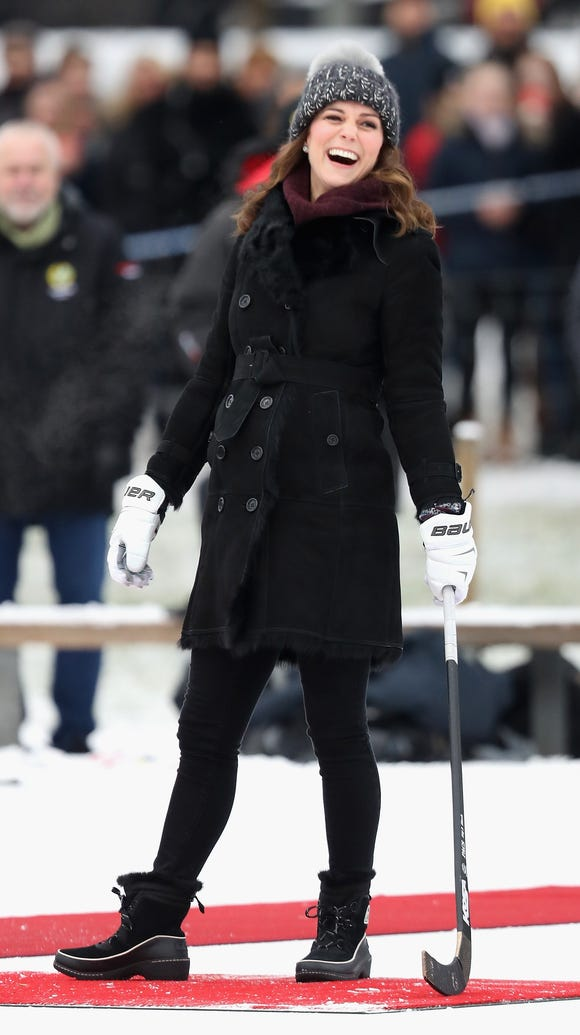 Kate was in good spirits despite the cold.