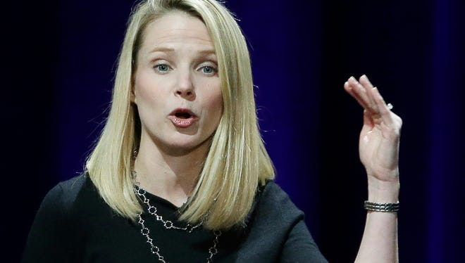 Yahoo President and CEO Marissa Mayer delivers the keynote address at the first Yahoo Mobile Developer's Conference in San Francisco in January 2015.