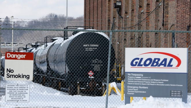 Railroad oil tanker cars parked at the Port of Albany. Each week between 20 and 35 freight trains pulling such tankers roll through Monroe County.