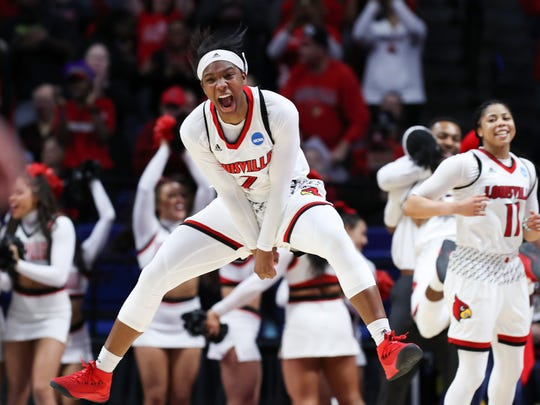 Myisha Hines-Allen jumps for joy during the closing seconds of the Cards' win over Oregon State. Mar. 25, 2018