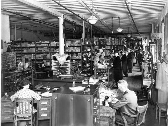 The interior of the Whipple Auto firm on Water Street, now Lost Dog Café, around 1920.