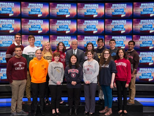 "Fifteen students will compete in the ""Jeopardy!"" college championship. R.I.T. student Sheldon Lewis is in orange."