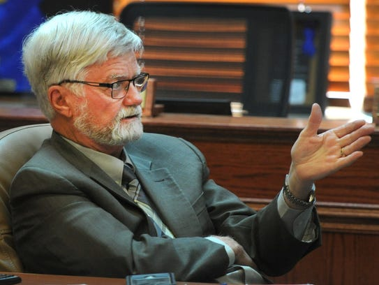 Wichita County Judge Woody Gossom asks a question during