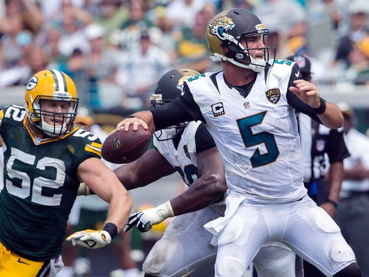 FILE - In this Sunday, Sept. 11, 2016 file phot, Green Bay Packers inside linebacker Clay Matthews (52) rushes Jacksonville Jaguars quarterback Blake Bortles (5) during the second half of an NFL football game in Jacksonville, Fla. The sense of urgency is already dialed up as the  San Diego Chargers play their home opener Sunday against Bortles and the Jaguars, in a matchup of 0-1 teams. (AP Photo/Stephen B. Morton, File)