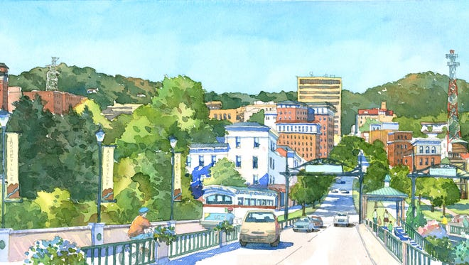 """The Asheville Design Center created this depiction of what a reworked Bowen Bridge leading into Asheville could look like. The center will work with city officials and the DOT toward a """"signature"""" bridge for Asheville."""