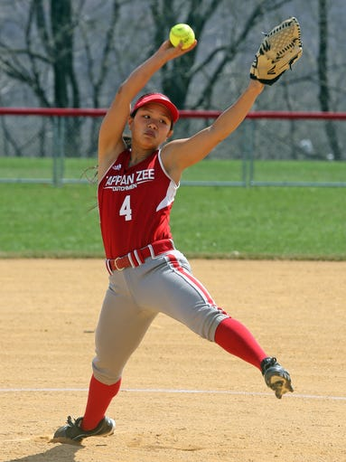 Tappan Zee's Pauline Gutkin pitches to Eastchester during a varsity softball game at Tappan Zee High School in Orangeburg April 14, 2014. Eastchester defeated Tappan Zee 3-2 in eight innings.