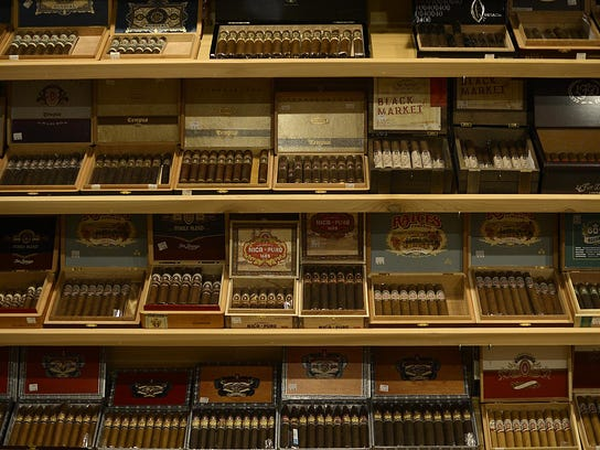 A variety of cigars inside the humidor at Prohibition