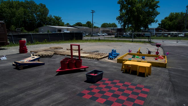 A family friendly game and deck space being constructed at Troy King and Selena Johnson's space at 1519 Petunia Avenue that will be used as a food truck park. The space has been used by the couple to build food trucks, but will host seven food trucks for an event. June 4, 2018